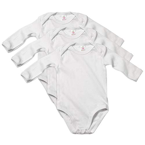Undershirt Cotton Baby (Candyland Solid White Cotton Baby's Undershirts - 3 Pack (3-6 Months, Long Sleeve))