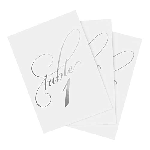 Silver Wedding Table Numbers (Assorted Color Options Available), Double Sided 4x6 Calligraphy Design, Numbers 1-25 and Head Table Card Included; from Bliss Paper -