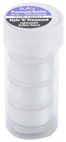 Sulky Prewound Bobbins A Style 131yd 4/Pkg, White