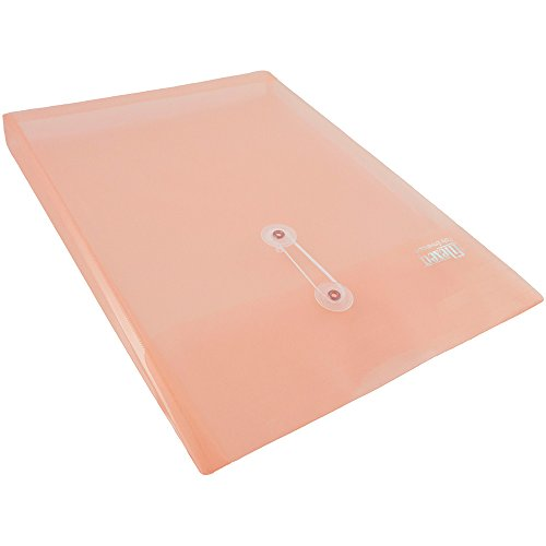JAM Paper Plastic Envelope with Button and String Tie Closure - Letter Open End - 10 1/4'' x 13'' - Pink Frosted -108/pack by JAM Paper (Image #4)