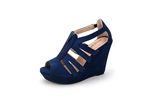 Mila Lady Lisa 5 Strappy Open Toe Platform Wedges Heeled Sandals Shoes for Women Navy 8