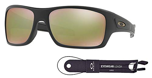 (Oakley Turbine OO9263 926325 63M Matte Black/Prizm Fresh Water Polarized Sunglasses For Men+BUNDLE with Oakley Accessory Leash Kit)