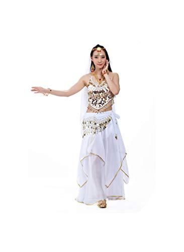 5Pcs/Set Belly Dancing Sets Egyption Egypt Belly Dance Indian Dress Bellydance Dress,White,One Size