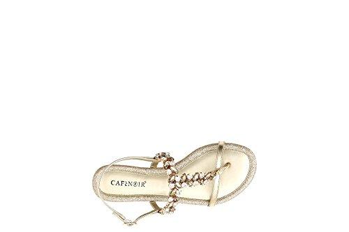 Infradito Gioiello Glitter Sandali Noir Cinturino Donna Oro GA922 Oro Cafè Pietre Platino CafèNoir Zwqx8p68