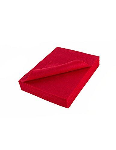 """Acrylic Felt Sheet 9"""" X 12"""": 25 PCS, Red"""