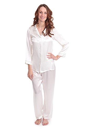 TexereSilk Women's Luxury Silk Pajama Set (Natural White,...