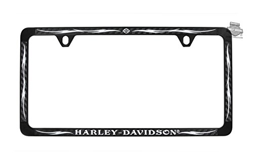 Harley-Davidson B&S with Tribal Flames Black Coated 3M Carbon Fiber Inlay License Frame - Universal - Harley Davidson Carbon