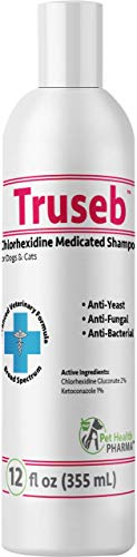 Truseb | #1 Ketoconazole & Chlorhexidine Shampoo for Dogs & Cats - Antifungal, Antibacterial & Antiseptic Medicated Dog Shampoo for Hot Spots, Ringworm, Yeast, Fungal Infections, Acne,Pyoderma (12 Oz)