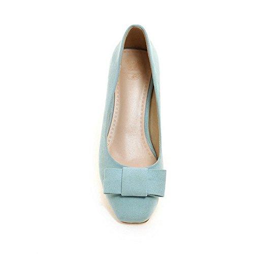 VogueZone009 Damen Ziehen auf Quadratisch Zehe Mittler Absatz Rein Pumps Schuhe Blau
