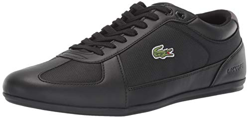 Lacoste Men's EVARA Sneaker, Black/Dark Grey, 9.5 Medium US