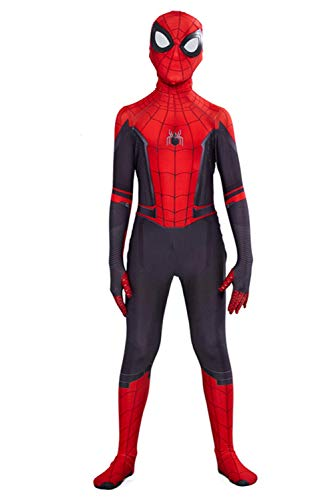 Toddler Kids Superhero Costumes Miles Morales Far from Home Peter Parker Jumpsuit Bodysuit Black Spider Tights Zentai Costume (Child XXL/140-150CM, Peter Parker Far from Home) (Child S/90-110CM)