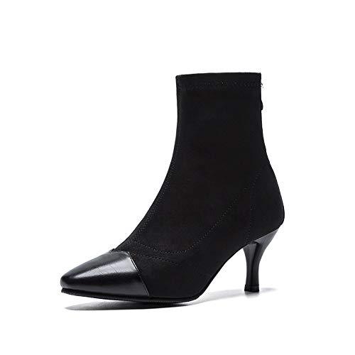 Botines Cortos de tacón Alto con Punta de Estilete para Mujer, Negro, 41: Amazon.es: Zapatos y complementos