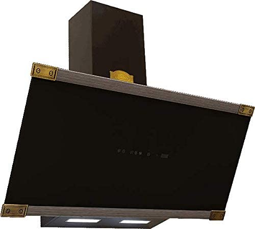 Kaiser Art Deco - Campana extractora de pared (90 cm, tapa anticabezal, 1250 m3/h, vidrio negro,