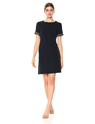 Julia Jordan Women's Short Dress with Sleeve Embellishment, Navy, 14 by Julia Jordan