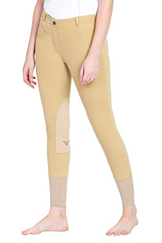 TuffRider Women's Pull-On Knee Patch Breeches, Light Tan, 28