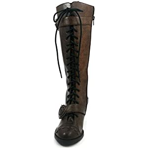 Hades Shoes – Burgundy Vintage Knee High Boots