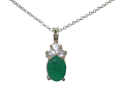 Haute Qualité Pendentif pour Femme en Argent fin 925/1000 sertie d'Emeraude et Diamant