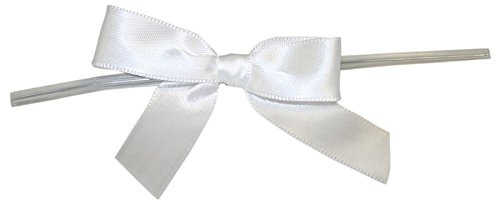 Reliant Ribbon 100 Piece Bow 2.5 Span X 1.75 Tails Twist Tie Ribbon, White, (5 Piece Ribbon)