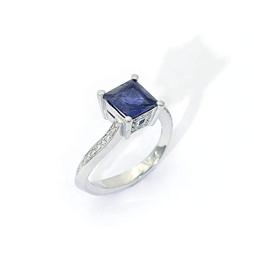 (18k white gold Square Iolite Diamond)