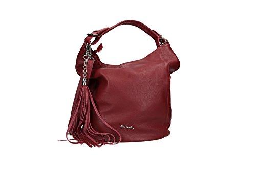 Bolsa mujer shopper PIERRE CARDIN burdeos cuero martillado Made in Italy VN2583