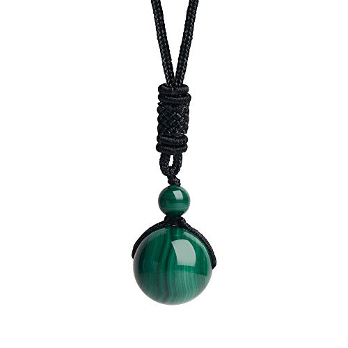iSTONE Unisex Genuine Round Gemstone Beads Malachite Pendant Necklace with Adjustable Nylon Cord 24 Inch