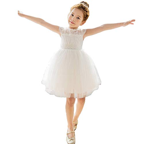 Bow Dream Little Girl Lace Flower Girl Dresses Wedding Party Easter First Communion 2T to 12 Years Old White 8