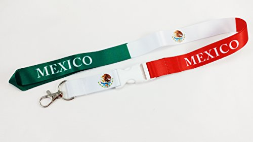 Mexico Flag Lanyard with clip and detachable buckle for k...