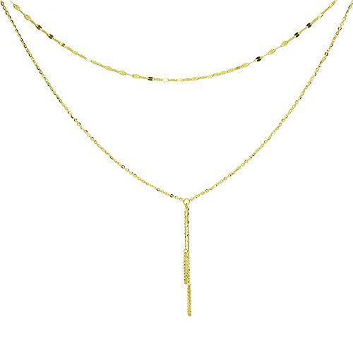 14K Yellow Gold Italian Chain Hammered Mariner Layered Dainty Lariat Y-Necklace 14k Yellow Slide