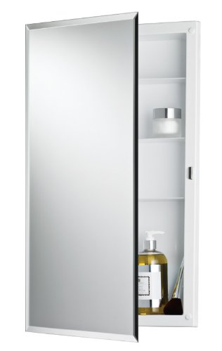 Jensen 781061 Builder Series Frameless Medicine Cabinet with Beveled Edge Mirror, 16-Inch by 26-Inch by 3-3/4-Inch (Cabinet Edge Beveled Medicine)