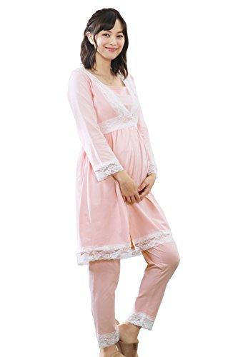 免疫意外モッキンバードSweet Mommy マタニティパジャマ 上下セット 前開き レース 授乳レイヤー付き L ピンク