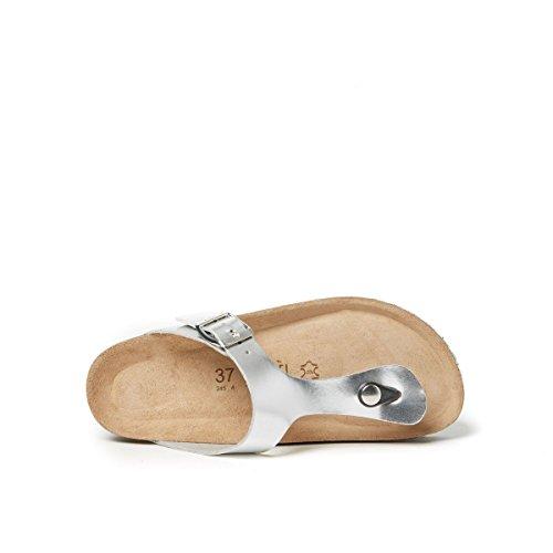 Mandèl MD2072 - Sandalias de Vestir de Piel Sintética Para Mujer Plateado Plateado