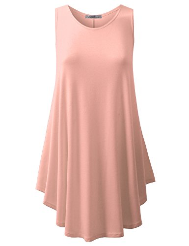 URBANCLEO Womens Scoop Neck Sleeveless Elong Tunic Top Shirt Peach XLarge