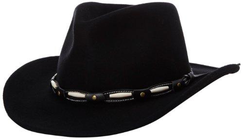 Mali Felt - Henschel Men's Felt Outback Hat with Beaded Band, Black, Medium
