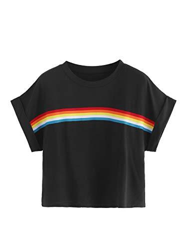 Romwe Women's Short Roll Up Sleeve Colorblock Striped Rainbow Print Crop Tee Top Black XL ()