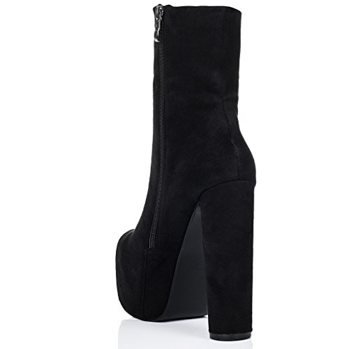 SPYLOVEBUY RUFFLE Mujer Plataforma Tacón Bloque Botes Bajas Zapatos Negro - Gamuza Sintética