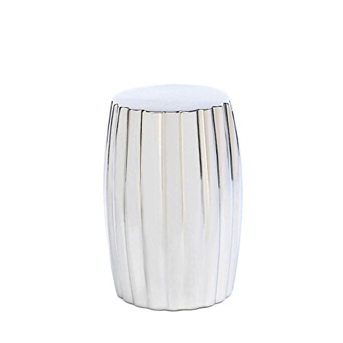 Modern Accent Stool, Round Silver Decorative For Patio Desk Bathroom Footstool by Accent Plus