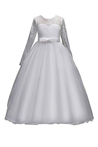 555e25817636 MisShow Mädchen Prinzessin Tüll Spitzen Blumenmädchenkleid Festlich  Hochzeit Kleid Abendkleid Gr.120-170 Weiß