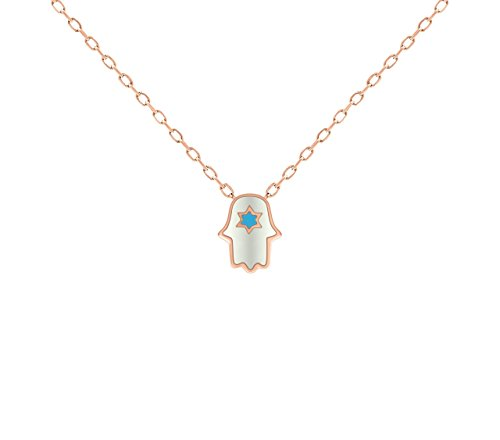 Roses Hamsa Necklace - Dainty Jewish Star & Hamsa Rose Gold Necklace for Women and Girls + Layering Jewelry | Alef Bet