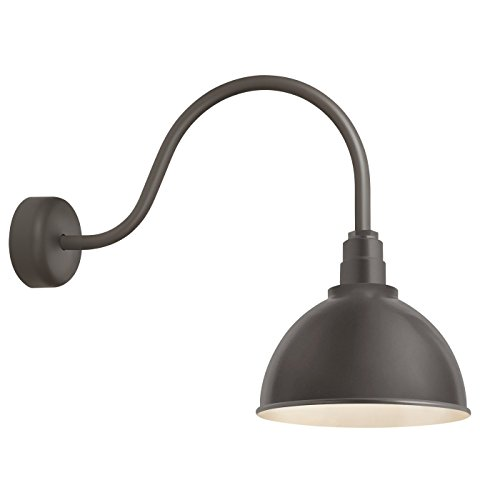 """Troy RLM RD16MTBZ3LL23 Deep Reflector Outdoor Wall Sconce-16in Shade-23in Arm, 16"""" Shade Textured Bronze"""