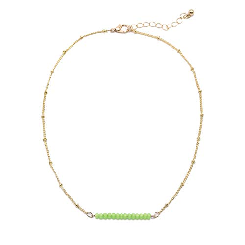 So Pretty Dainty Bead Gold Choker Necklace for Women Green Beaded Chain Layering Necklace ()