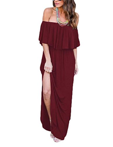 Shoulder Pockets Size with Women Wine Red Cold Coolred Gown Split Solid Ponti Plus EWxf0XE4nB