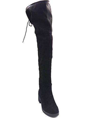 Petit SHF80 et Lacet Longues Talon avec Uni Mode Noir Cuissardes Daim Femme Bottes Effet Carré 0qU01Rf