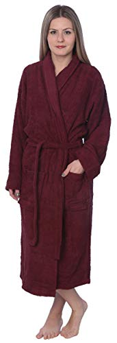 Womens 100% Cotton Shawl Collar Robe Terry Cloth Bathrobe Available in Plus Size BRT1_Y18 Maroon -