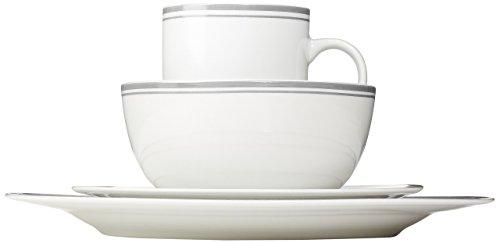 AmazonBasics 16-Piece Cafe Stripe Dinnerware Set, Service for 4 - Grey by AmazonBasics (Image #5)