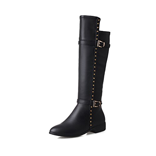 Synthetic Solid Pointed Womens Boots Toe BalaMasa Zipper Black gqz1nwqx