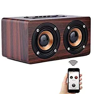 MESIDA Mini Bluetooth Speakers Portable Wireless for Car Hands Free,Cell Phones,Home,Outdoors,Travel,with Tf Card Slot Wood Red Wine ()