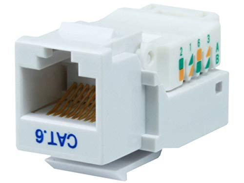 Monoprice Cat6 RJ-45 Toolless Keystone, White (101044)