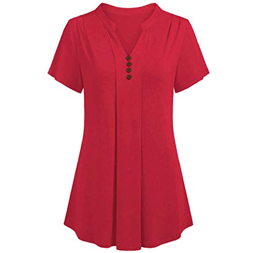 Toimothcn Plus Size Tops, Womens Short Sleeve V Neck Button Shirts Loose Pleated Tunic Tops Blouse S-6XL(Red,XXXXL)