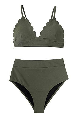 CUPSHE Women's Olive Green High Waist Adjustable Padded Bikini Set, S (Small Padded Bikini)