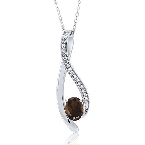 Tiffany Bronze Diamond - 1.5 Inch Oval Shaped Gemstone Infinity Pendant With White Zirconia & 18 Inch Chain